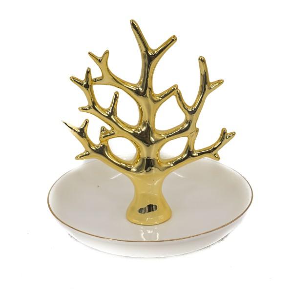 صحن تقديم بشجرة ذهبية اللون