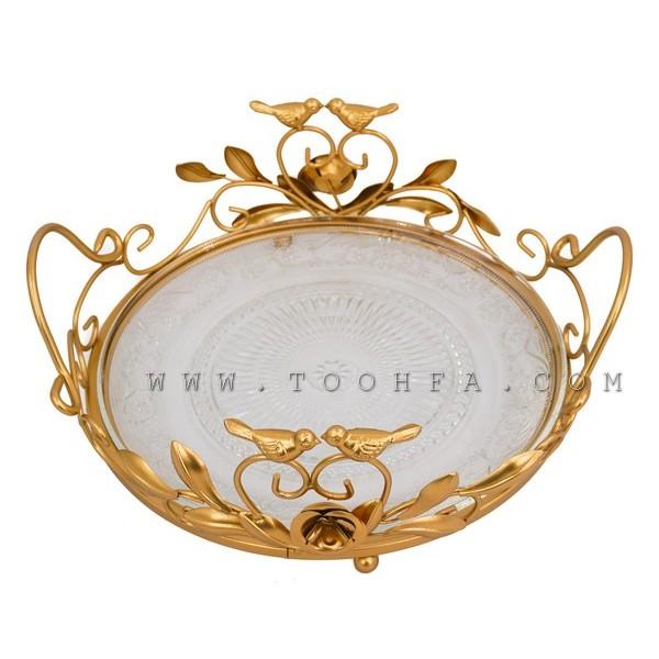 صينية تقديم ذهبية اللون -صغير-