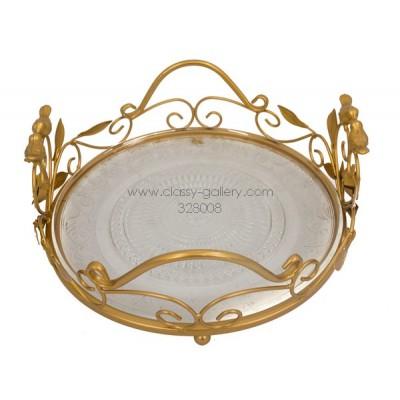 صينية تقديم ذهبية اللون - كبيرة-