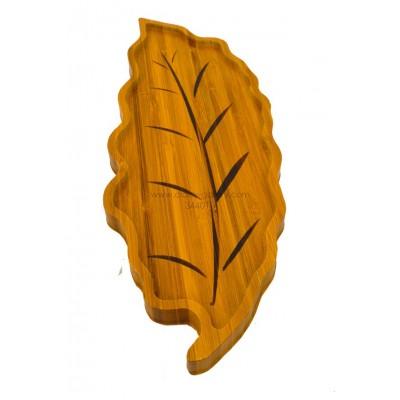 صحن تقديم خشب بشكل ورقة
