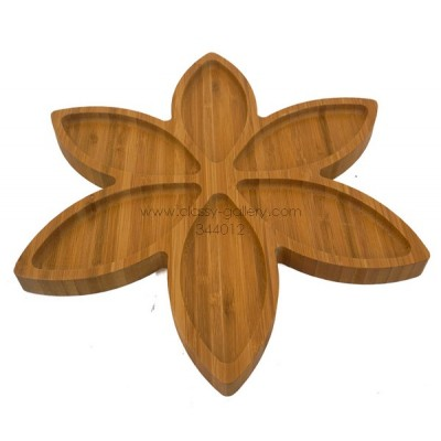 صحن تقديم مقسم خشبي بشكل وردة