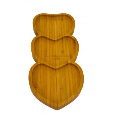 أصحن تقديم خشبية 3 قلوب