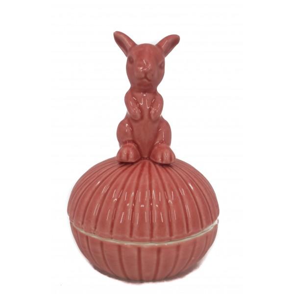 علبة خزفية ارنب وردي