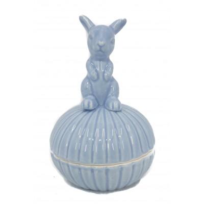 علبة خزفية ارنب ازرق