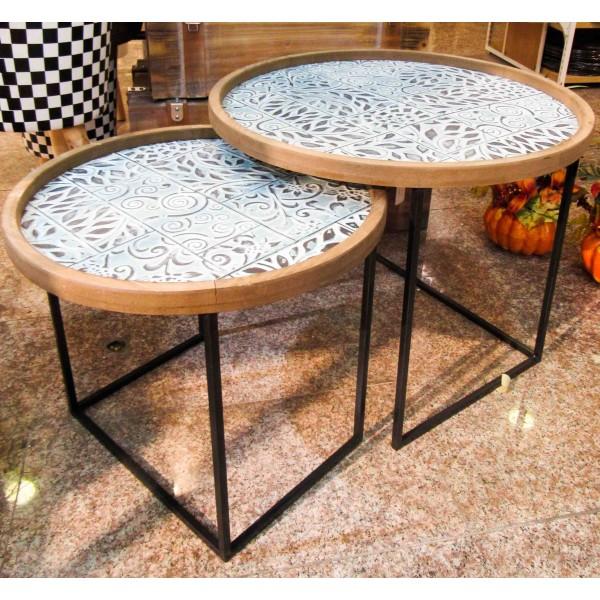 طقم صواني معدنية/طاولات تقديم