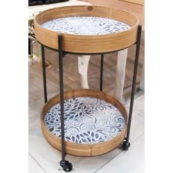 طاولة تقديم خشبية بعجلات