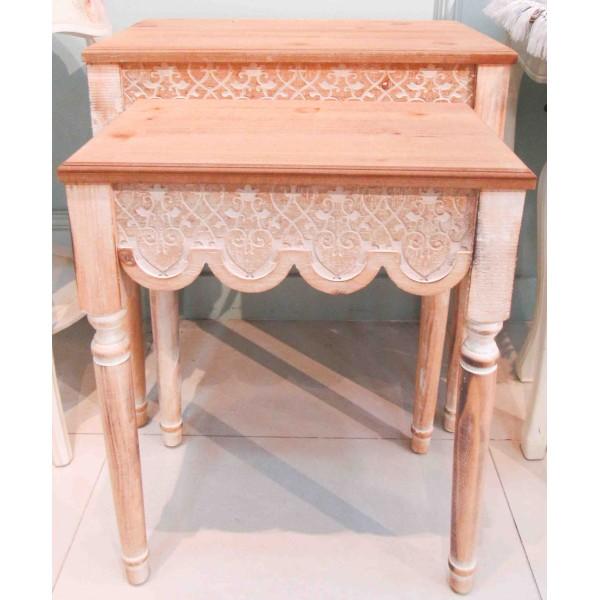 طقم طاولات تقديم خشبية