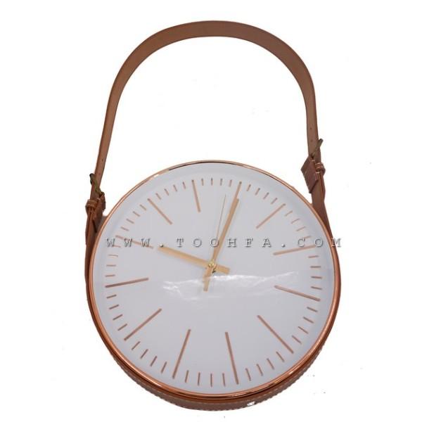ساعة جدار مع حزام جلدي