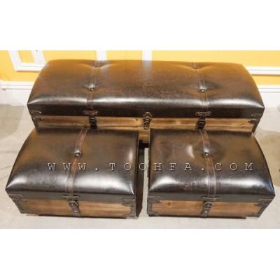 مجموعة صنديق وكراسي تخزين جلد