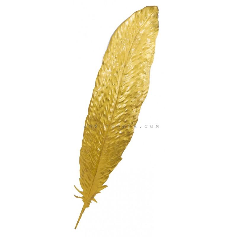 ديكور جداري معدني بشكل ريشة ذهبية