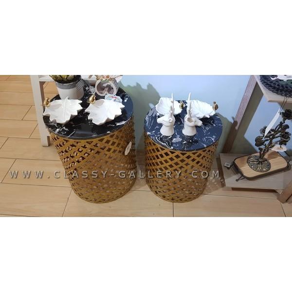 طقم طاولات تقديم بأسطح رخامية سوداء