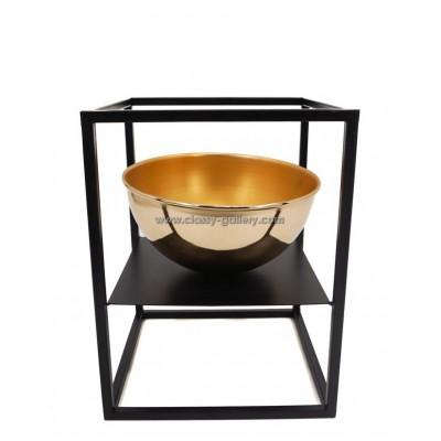 وعاء معدني ذهبي/أسود