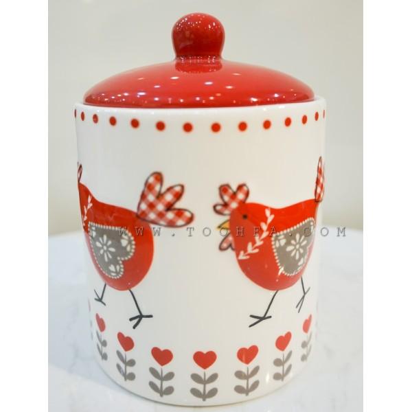 علبة سيراميك حافضة برسومات دجاج/صغير