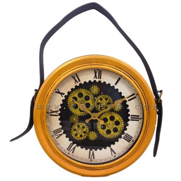 ساعة جدار طراز صناعي جلد