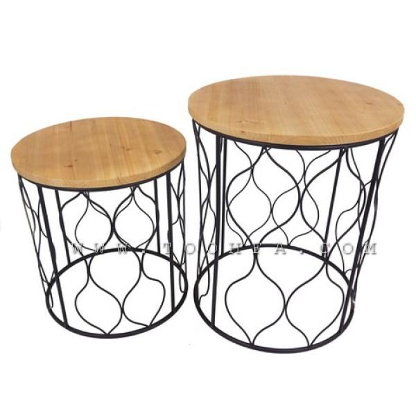 طقم طاولات تقديم بسطح خشب