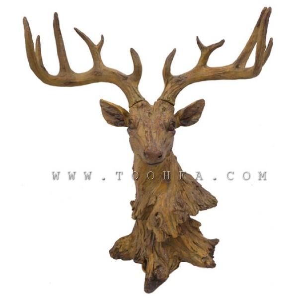 تمثال رأس غزال لون خشبي