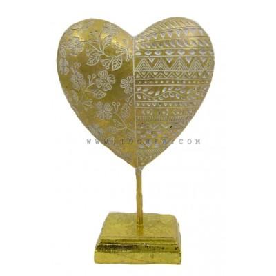 تحفة على شكل قلب ذهبي مزخرف