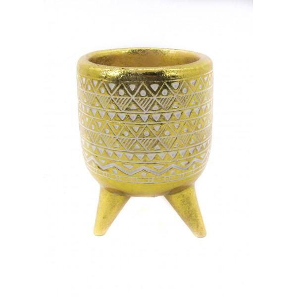 وعاء ذهبي طراز أفريقي. المقاس :11*11*15. المقاس :11*11*15