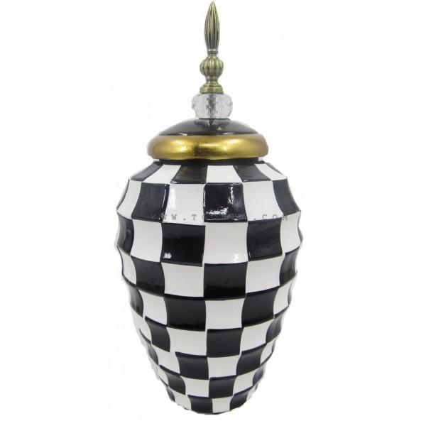 فازة خزفية بنقوش شطرنج كبير