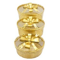 طبق تقديم معدني ذهبي بشكل صندوق