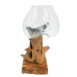 حوض زجاجي مع خشب طبيعي