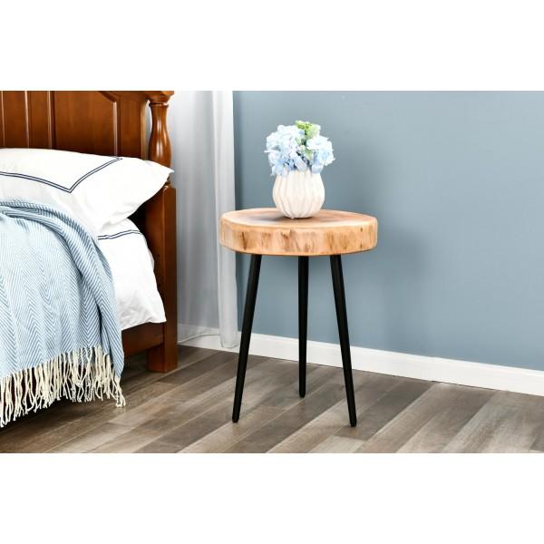 طاولة خشب طبيعي مقاس 35x35x42