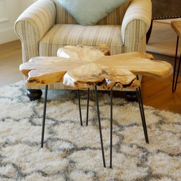 طاولة خشب طبيعي مقاس 60X60x40