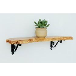 رف خشب طبيعي مقاس 60x20x2.5cm