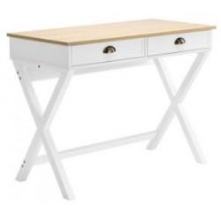 طاولة كونسول أبيض بسطح خشبي مقاس103 X 49.5 X 76