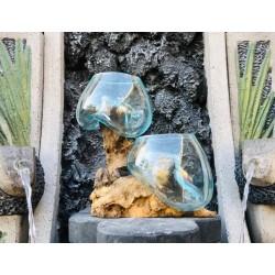 حوضين زجاجيين + خشب طبيعي 80 سم
