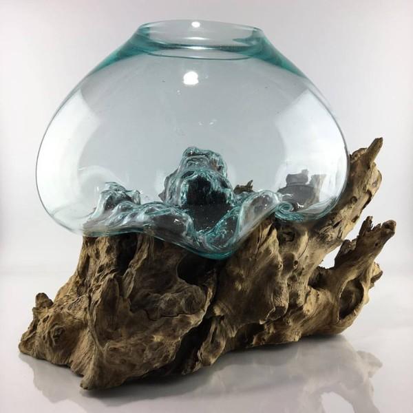 15x20cm حوض زجاجي مع قاعدة خشب طبيعي