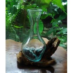 20x23 فازة زجاجية مع قاعدة خشب طبيعي