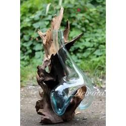 25x35cm  فازة زجاجية مع قاعدة خشب طبيعي