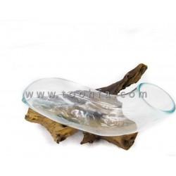 35x20cm  فازة زجاجية مع قاعدة خشب طبيعي