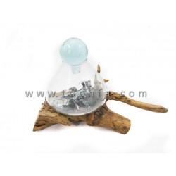 20cm إطار صورة مع زجاج بقاعدة خشب طبيعي