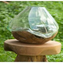حوض زجاج قطر 25 سم مع ستاند خشب طبيعي