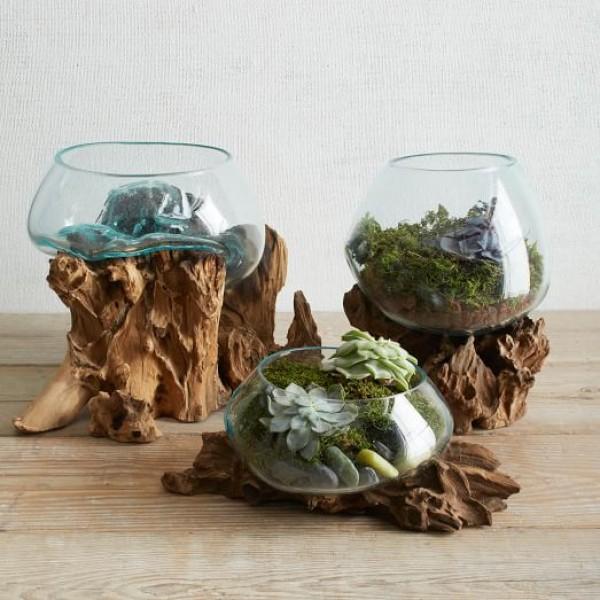 حوض زجاج قطر 20 سم مع ستاند خشب طبيعي