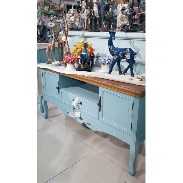 طاولة تلفاز درفتين ودرج أزرق
