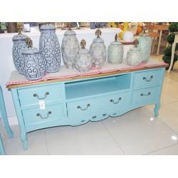 طاولة تلفاز مقاس 145 سم -  لون أزرق بسطح خشبي - مع زخارف