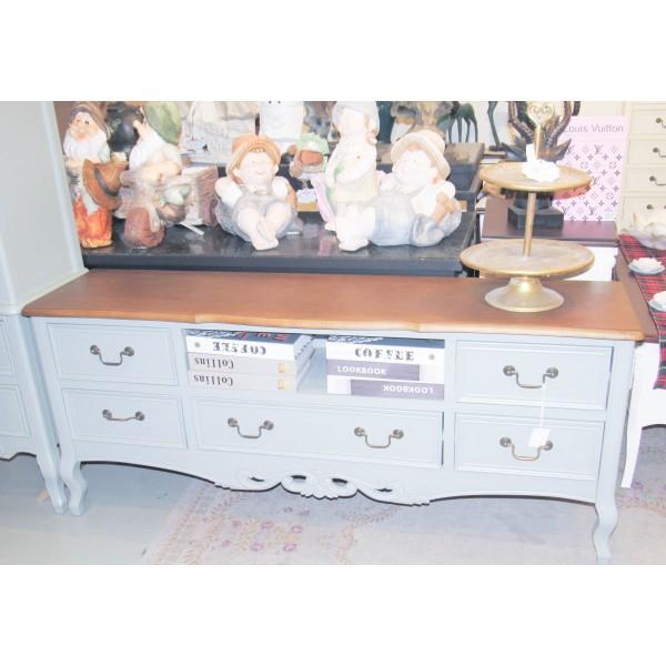 طاولة تلفاز مقاس 145 سم - لون رمادي بسطح خشبي - بدون زخارف