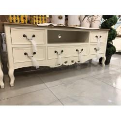 طاولة تلفاز مقاس 145 سم -  لون أبيض كريمي بسطح خشبي - مع زخارف