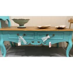 طاولة قهوة - لون أزرق بسطح خشبي - مع زخارف