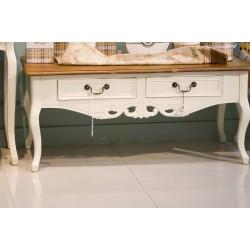 طاولة قهوة - لون أبيض كريمي بسطح خشبي - مع زخارف