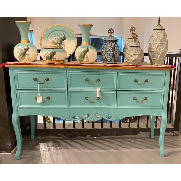 طاولة مدخل كلاسيدية - لون أزرق بسطح خشبي - بدون زخارف