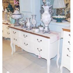 طاولة مدخل كلاسيدية - لون أبيض كريمي بسطح خشبي - بدون زخارف
