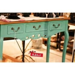 طاولة كونسول خشبي كلاسيك -  لون أزرق بسطح خشبي - بدون زخارف