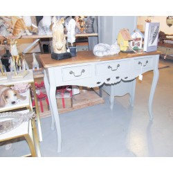 طاولة كونسول خشبي كلاسيك -  لون رمادي بسطح خشبي - بدون زخارف
