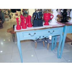 طاولة كونسول خشبي كلاسيك -  لون أزرق  بسطح خشبي - مع زخارف