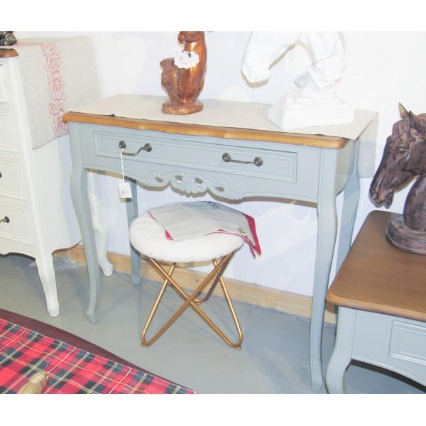طاولة كونسول خشبي كلاسيك -  لون رمادي بسطح خشبي - مع زخارف