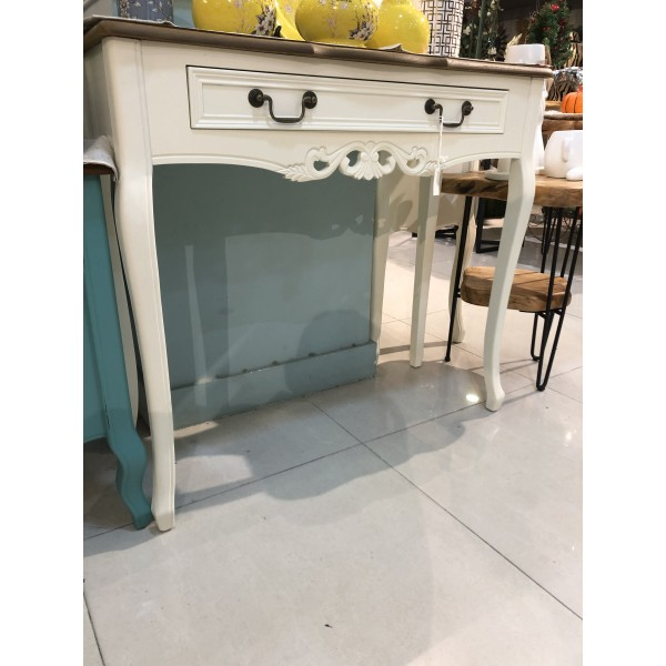 طاولة كونسول خشبي كلاسيك -  لون أبيض كريمي بسطح خشبي - بدون زخارف